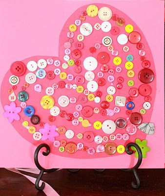 button heart: Valentines Crafts, Heart Crafts, Valentines Ideas, Activities For Kids, Buttons Crafts, Valentines Day, Kids Crafts, Sorting Activities, Heart Buttons