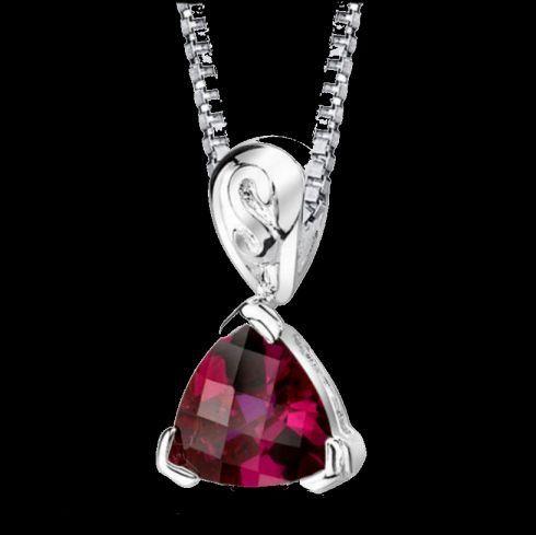 Red Ruby Trillion Cut Fancy Detail Sterling Silver Pendant