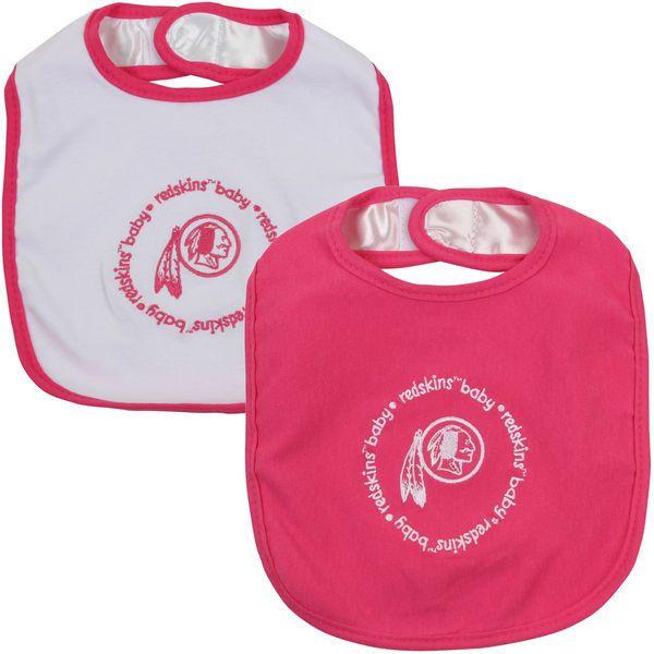 Infant Washington Redskins Pink/White 2-Pack Baby Bibs