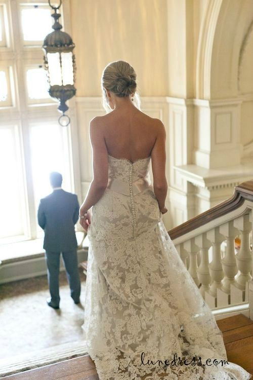 lace wedding dress lace wedding dresses. Love the back of this dress
