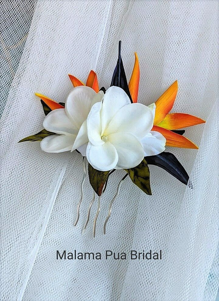 Hawiian Tropical Hair Accessory Bridal Hair Comb Bird Of Paradise Hawaiian Flower Beach With Images Bird Of Paradise Wedding Hawaiian Wedding Flowers Wedding Headpiece