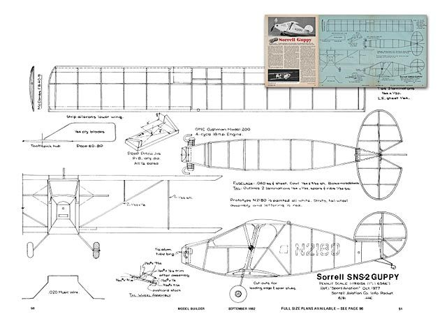 Sorrell Sns 2 Guppy Oz4636 By Hoby Clay From Model Builder 1982 Plan Thumbnail Model Airplanes How To Plan Model Planes