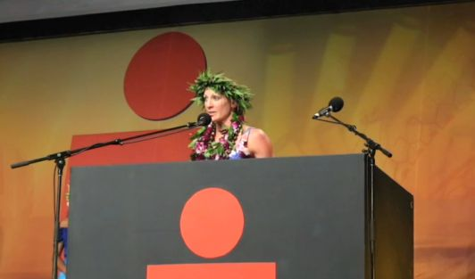 2015 Ironman world champion Daniela Ryf took the stage at the Banquet of Champions the Sunday following the race.