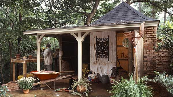 Tool Shed With Wrap Around Porch Yard And Garden