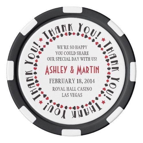 Vegas Casino Card Suits Wedding Thank You Favor Poker Chips Las