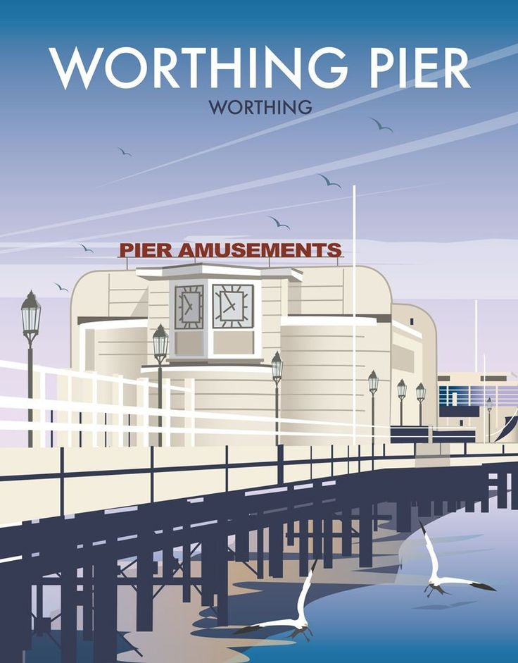 Worthing Pier Art Print - David Thompson, contemporary illustrator.