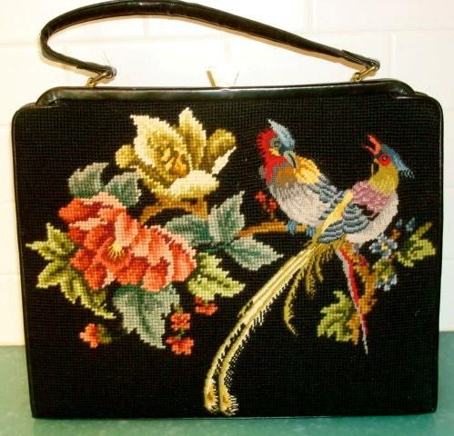 Vintage needlepoint & petit point bag purse birds of paradise big black tapestry