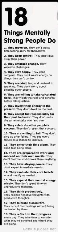 Keep Your Mind and Your Body Strong.  I agree with most of these, and am willing to think about the others.  ~~ Houston Foodlovers