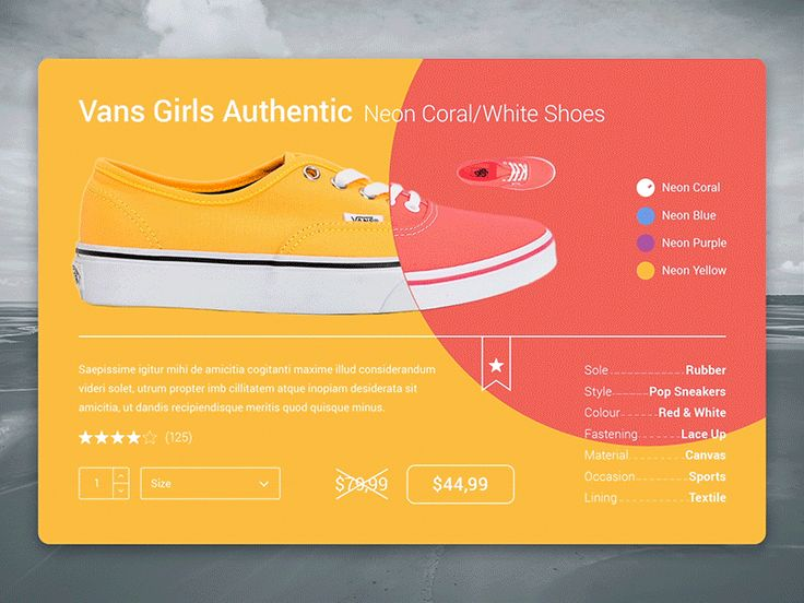 E-Commerce Shoes Card - Material Design Color Anim
