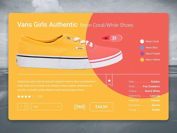 E-Commerce Shoes Card - Material Design Color Anim