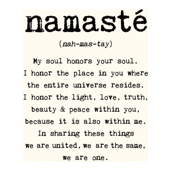 Namaste - 8x10 inches on A4. Inspiring spiritual quote typography art poster print. ($20) found on Polyvore featuring home, home decor, words, quotes, text, definition, pictures, filler, phrase and saying