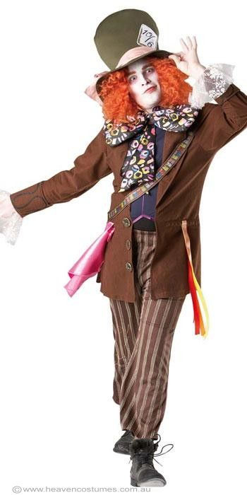 Mad Hatter Men's Fancy Dress Costume -  Licensed Men's Mad Hatter Costume From Tim Burton's Disney movie Alice in Wonderland, go stir crazy in this men's officially licensed Mad Hatter fancy dress costume. Wear this Mad Hatter costume to your next fairytale storybook fancy dress costume party. Description:   Brown ribbed felt coat with wide lapels and large cuffs. The cuffs have black swirls printing and pink lace with white highlights ruffled on the ends. An attached blue vest with ...