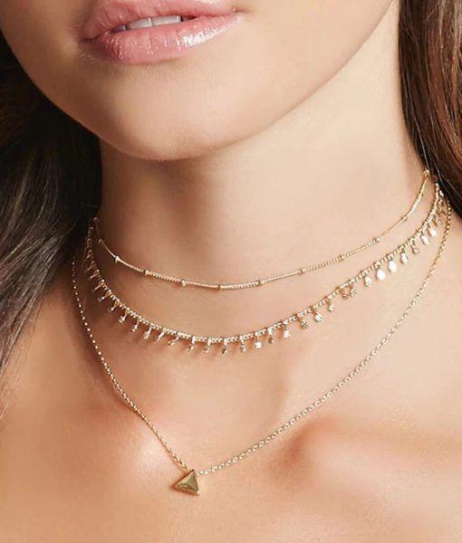 39c7f3839bf0 collar pegado al cuello dorado mujer