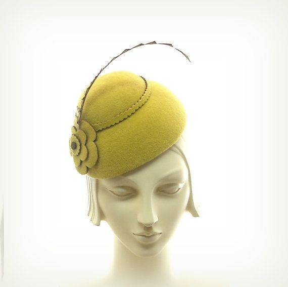 Yellow Cocktail Hat for Women 1930s Fashion by TheMillineryShop