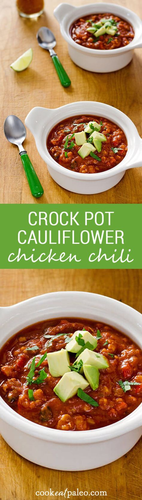 This chili recipe has a not-so-secret ingredient — cauliflower — standing in for the beans. Crock pot cauliflower chicken chili is an easy paleo dinner. ~ http://cookeatpaleo.com