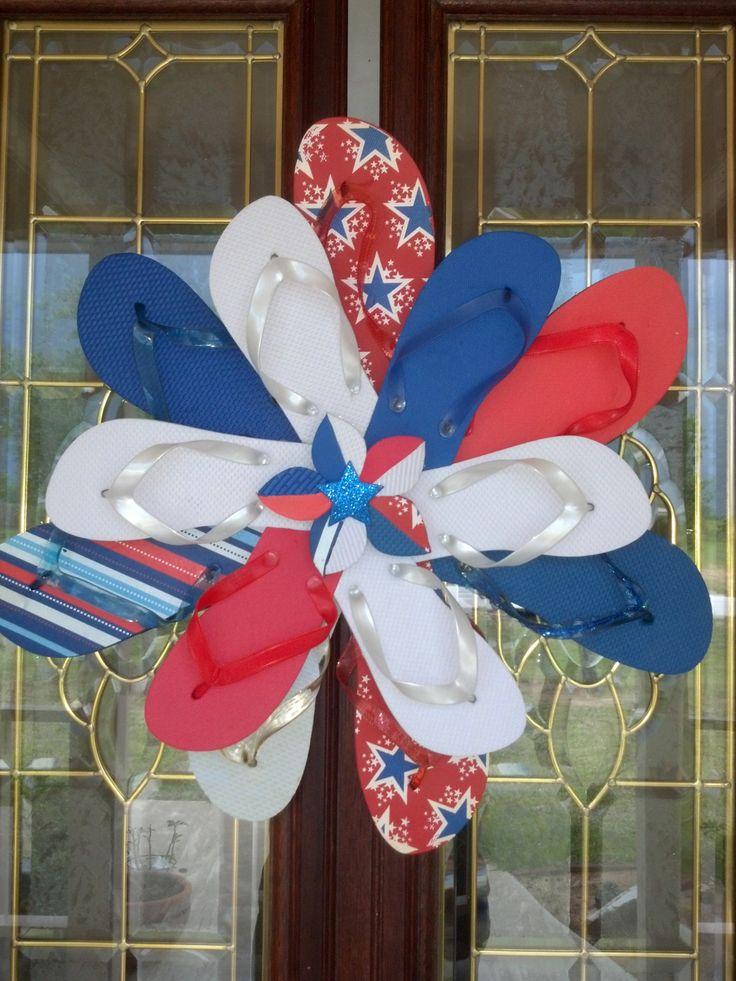 Flip Flop Wreath | ... Wall / Door Decor Flip Flop Wreath Uncle Sam July 4th Red White Blue