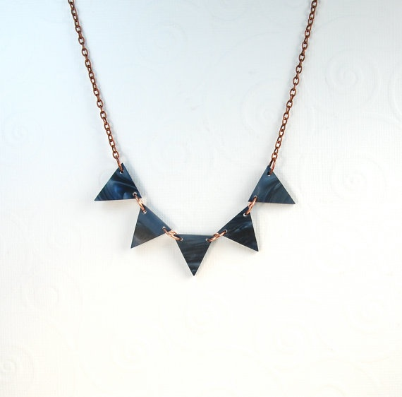 Delft Navy Blue Triangle Modern Necklace by ThePolkadotMagpie