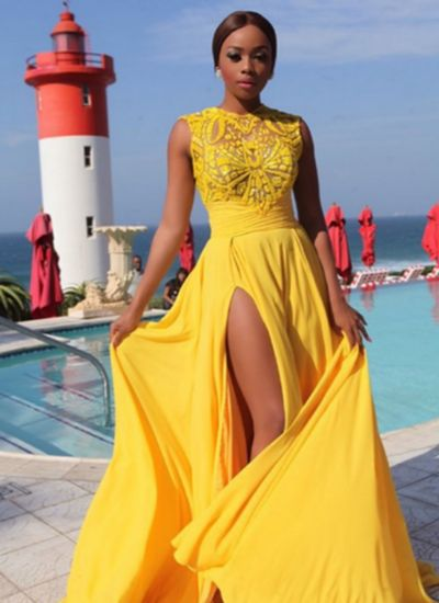 $199.89  Long Chiffon Prom Dress Yellow,Beaded Bodice Chiffon Skirt Prom Dress with Slit,Long Chiffon Evening Party Gowns