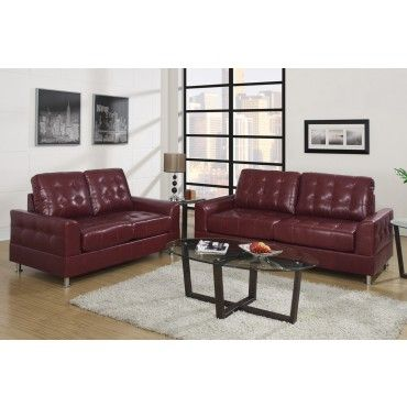 Sectional Sofa  Piece Burgundy Sofa Set with Loveseat by Poundex F Livining Room Pinterest Loveseats Sofa set and Sofas