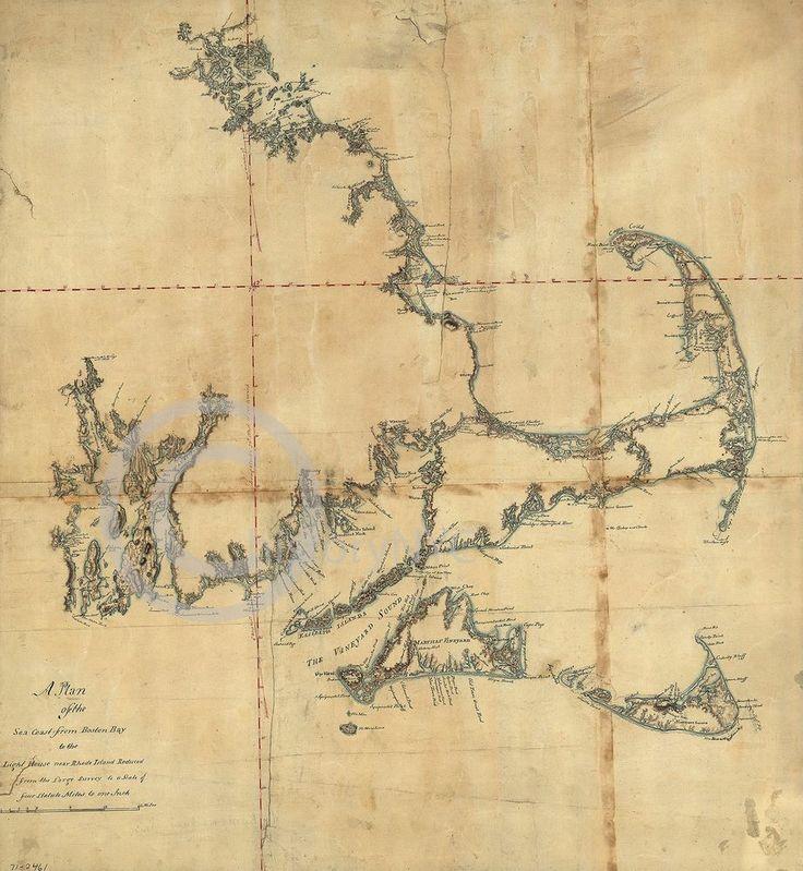 1750 MASSACHUSETTS SEACOAST BOSTON HARBOR MAP VINTAGE