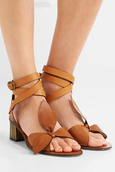 Chloé - Exclusive Bow-detailed Embellished Leather Sandals - Tan - IT