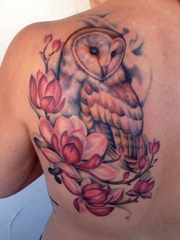 Barn Owl and Magnolias. More via http://forcreativejuice.com/attractive-owl-tattoo-ideas/