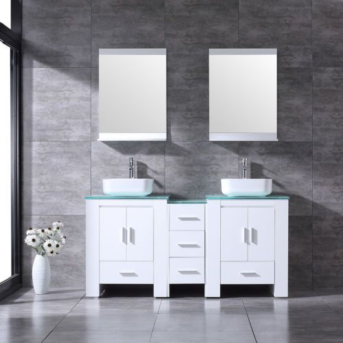 "60""Bathroom Ceramic Vessel Faucet Sink Vanity Cabinet Solid Wood Set"