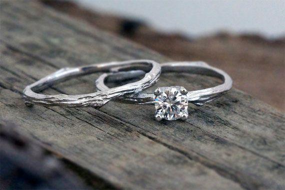 Prong setting round Moissanite engagement ring / 14k white gold / organic unique bridal set