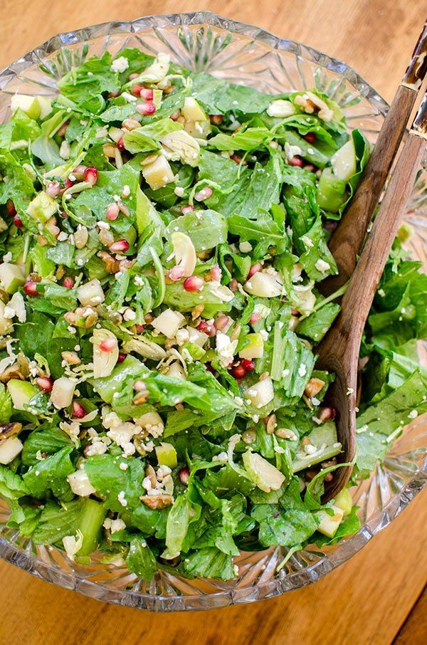 Thanksgiving chopped salad recipe with apple, brussels sprouts and feta cheese.   livinglou.com