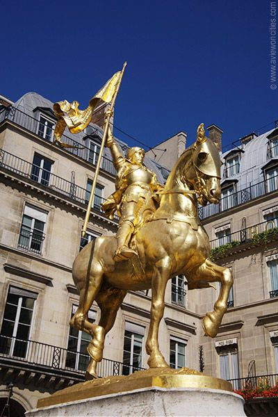 Statue of Jeanne d'Arc (Joan of Arc), Paris, France.     Oh yes, and that's the Hotel Regina behind her.  Stayed there for 5 nights on my last visit.  Stunning photo!
