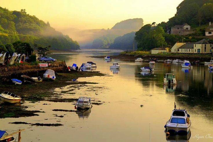 Looe, cornwall. View down the river at low tide.