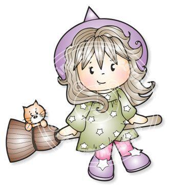 Digital (Digi) Broomstick  Jodie  Halloween Stamp