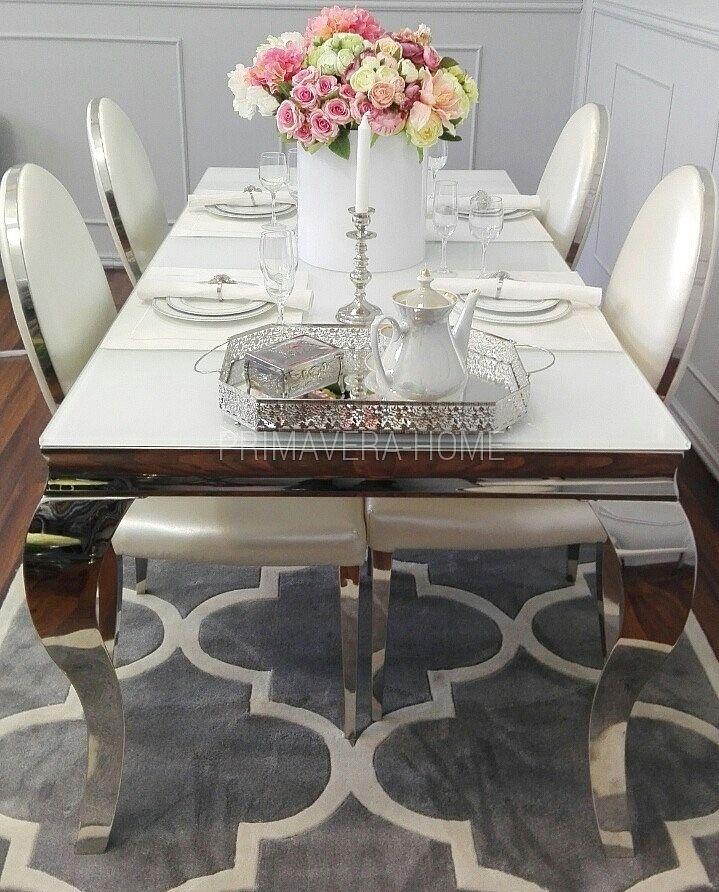 Stół do jadalni stal szklany nowoczesny biały GLAMOUR 1