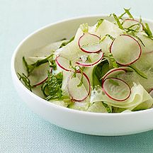 Marinated Cucumber and Melon Salad. Cucumbers, radishes and honeydew melon marinated with mint, lemon juice and sugar. Sounds yummy for summer! (1 Points+ for 1/2 c.)