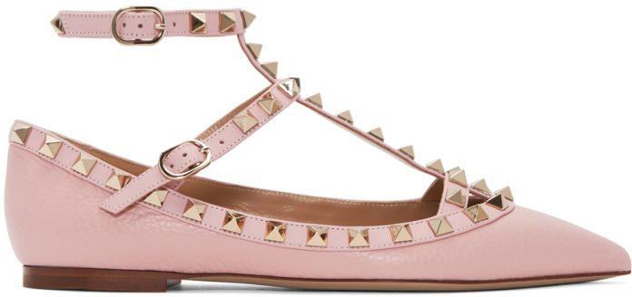 Cage Ballerina Pink Garavani Flats Valentino Rockstud 4LAcR35jq
