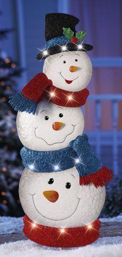 LED Stacked SNOWMENS Garden Stake Outside Seasonal Holiday Yard ART Garden Party #LEDYardArt
