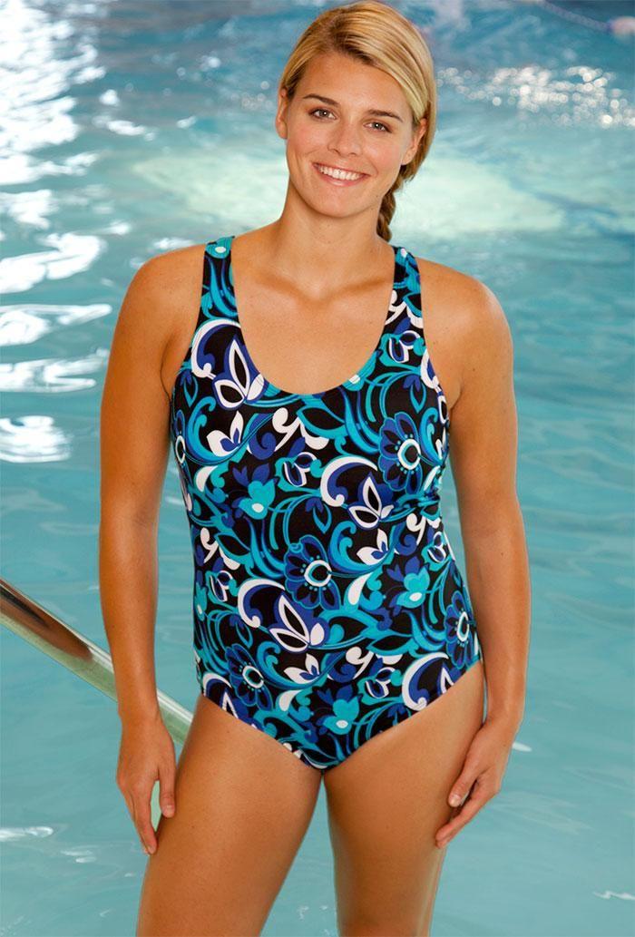 349d62cc3c  xmas  Christmas  SwimsuitsForAll -  Aquabelle Chlorine Resistant! Beach  Belle Polynesian Blue Cross Back Swimsuit - AdoreWe.com