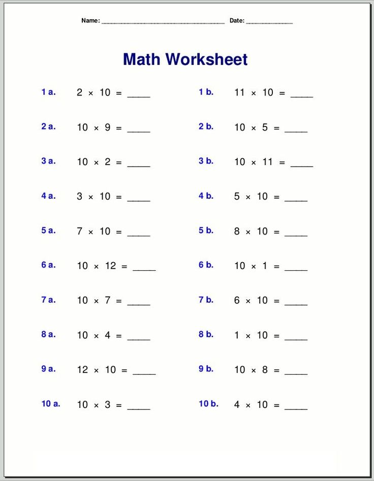 10 Times Table Worksheets Printable multiplication