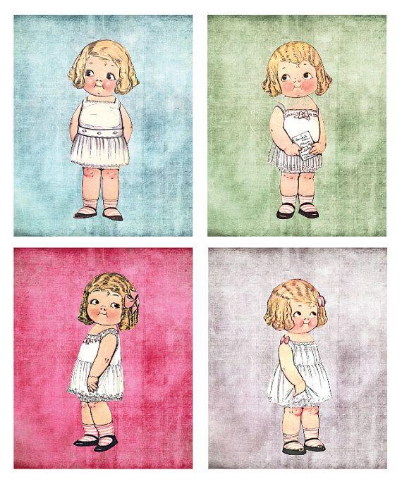 Vintage Paper Dolls Wall Art Print - Children's Bedroom Art, Kids Room Art, Nursery Art