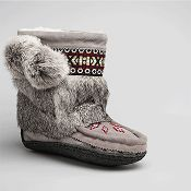 Womens grey mini mukluks for women with indian braid