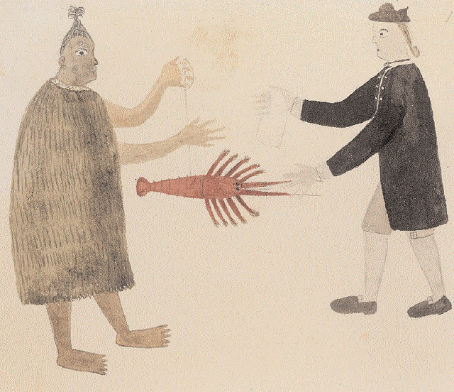 Tupaia, c1769, A Maori man and Joseph Banks exchanging a crayfish for a piece of cloth, British Library London by paulineandjohng2008, via Flickr