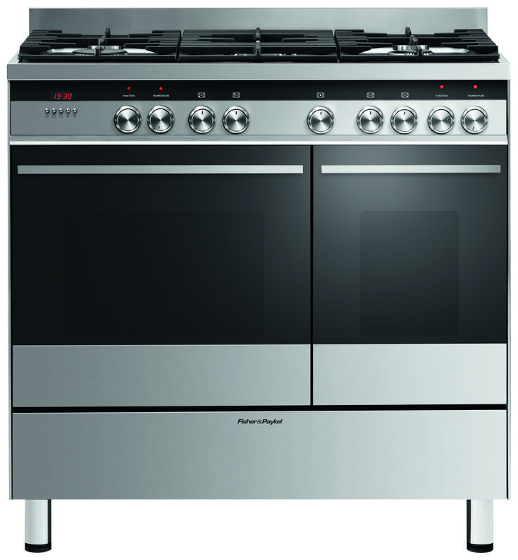 OR90L7DBGFX1 - Freestanding Cooker, 90cm, Dual Fuel With a large gas cooktop and two electric oven cavities, the Fisher & Paykel 90cm freestanding dual fuel cooker offers flexibility in your kitchen.
