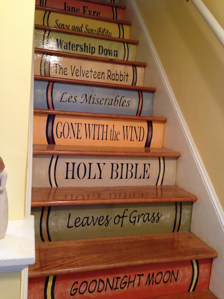 23 best Book spines for stairs images on Pinterest ...