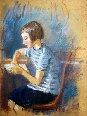 з.Серебрякова. Читающая девочка. 1916