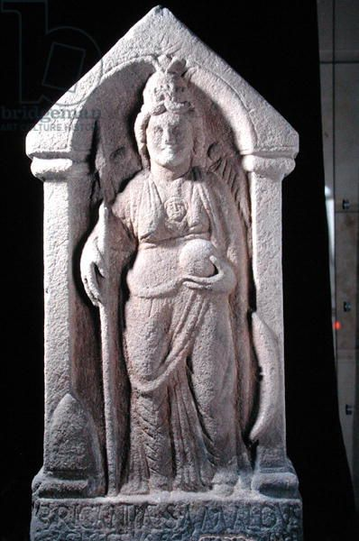 Relief sculpture depicting Brigantia, a north British native goddess, as a Roman goddess, from Birrens, Middlebie, Dumfriesshire (stone). Roman, (3rd century AD) / © National Museums of Scotland / The Bridgeman Art Library