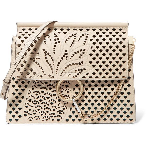 Chloé Faye medium perforated leather shoulder bag ($2,750) ❤ liked on  Polyvore featuring bags