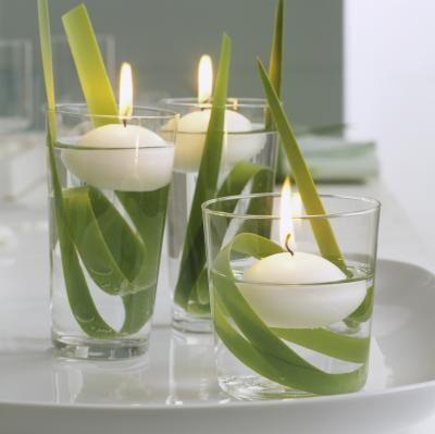 Stijlvolle kaarsen in wit en groen