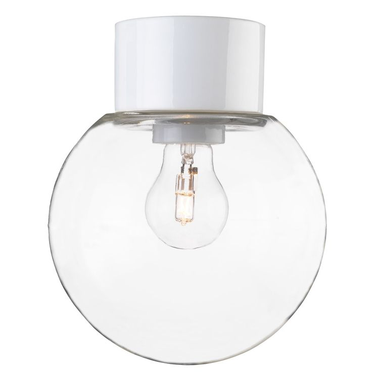 Porslinslampa med kupa och rak sockel (IP54) vit
