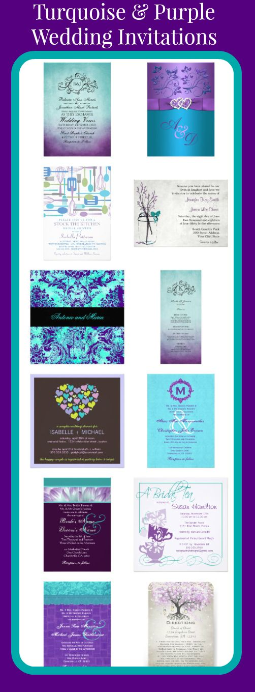 turquoise and purple wedding invitations for brides using teal,