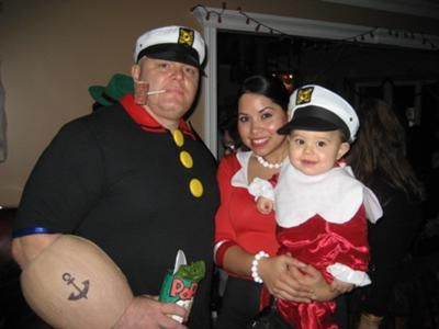 Homemade Popeye, Olive Oyl and Sweet Pea Family Costume